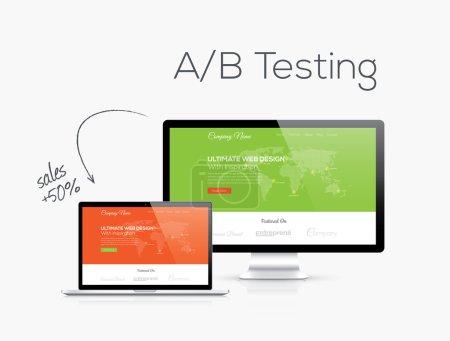 Illustration pour Optimisation des tests AB dans l'illustration vectorielle de conception de site Web - image libre de droit