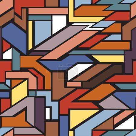 Illustration pour Fond géométrique abstrait, motif sans couture coloré avec des éléments graphiques - image libre de droit
