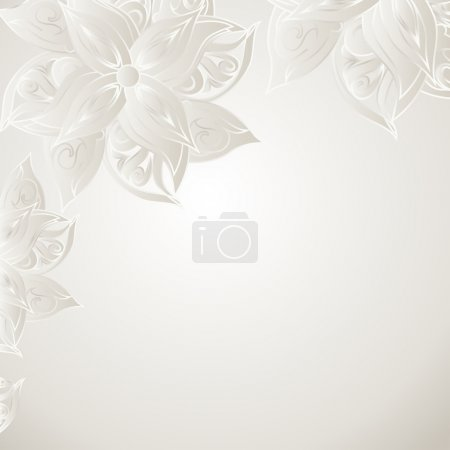 Illustration for Silver bue background with floral ornament and space for your text. Template frame design for card. - Royalty Free Image