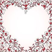 Heart-shaped frame with space for your text Floral ornament with hearts Template for valentine's day card wedding invitation