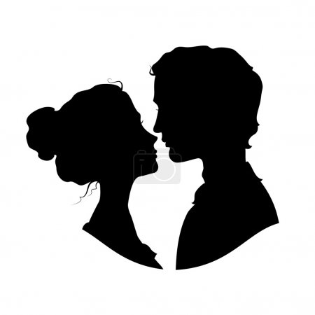 Illustration for Silhouettes of loving couple. Black against white background - Royalty Free Image