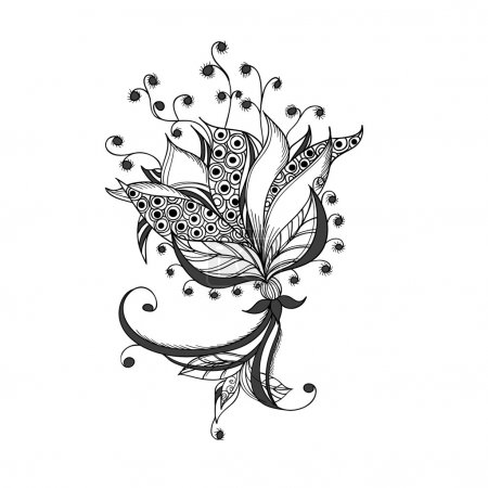 Illustration for Fantasy flower, black and white tattoo pattern. - Royalty Free Image