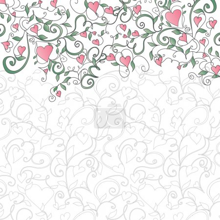 Illustration for Background with hearts and floral ornament. Template for valentine's day card, wedding card, invitations. - Royalty Free Image