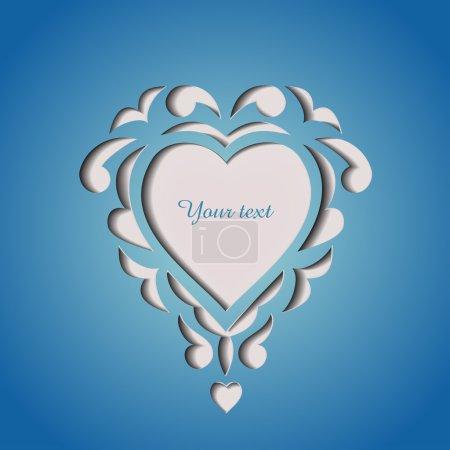 Illustration pour Carte de découpage de papier avec coeur et espace pour votre texte - image libre de droit