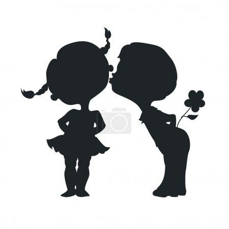 Illustration pour Silhouettes de baisers garçon et fille - image libre de droit