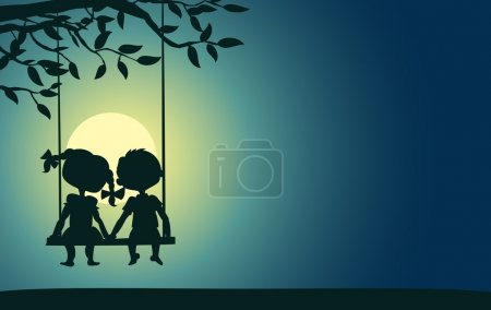 Illustration for Moonlight silhouettes of a boy and a girl sitting on a swing - Royalty Free Image