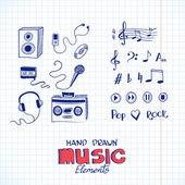 Sketch of music elements Eps 8 vector illustration