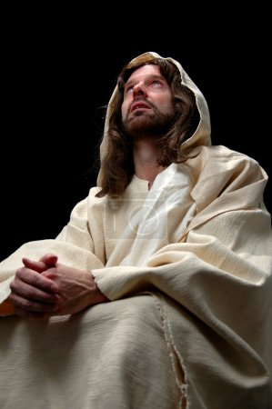 Photo for Jesus portrait in prayer with black background - Royalty Free Image