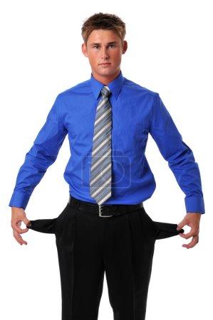 Young businessman broke