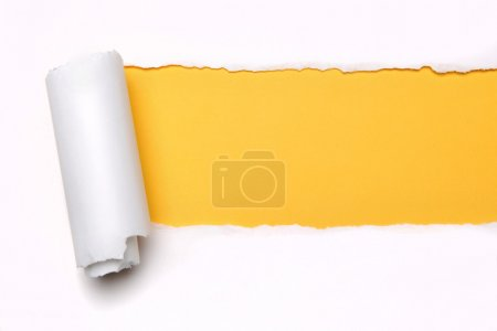Photo for Ripper paper with space for text with yellow background - Royalty Free Image