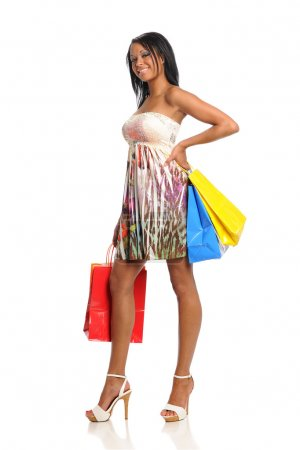 Young Black Woman with shopping bags