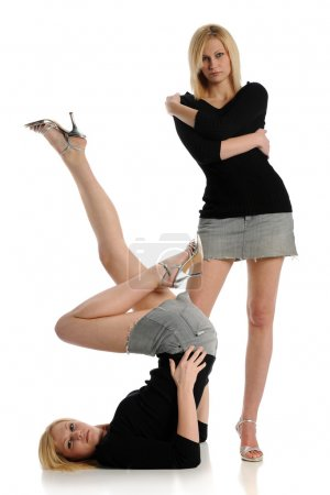 Photo for Young blond woman in two positions - Royalty Free Image