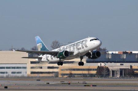 Saint Louis, Missouri, USA-November 11, 2009: A Frontiert Airlin