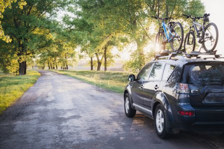 Photo for Car with bicycles in the forest road at sunset - Royalty Free Image