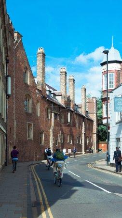 Busy street of Cambridge University, Cambridge, England, UK