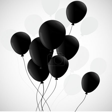 Illustration for Black balloons with a shadow on a white background - Royalty Free Image