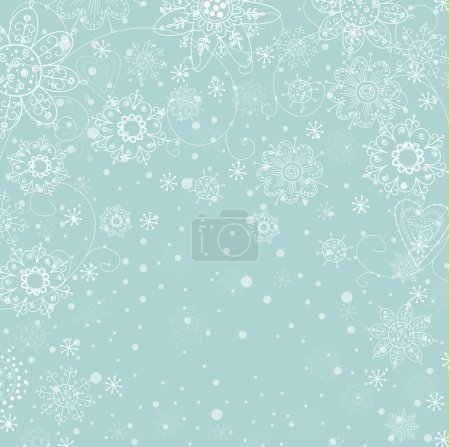 Illustration for Cristmas light blue invitation card with white snowflake - Royalty Free Image