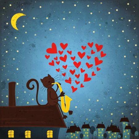 Illustration for Background with night sky ,cat and saxophone - Royalty Free Image