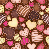Seamless chocolate pattern with sweetmeat heart