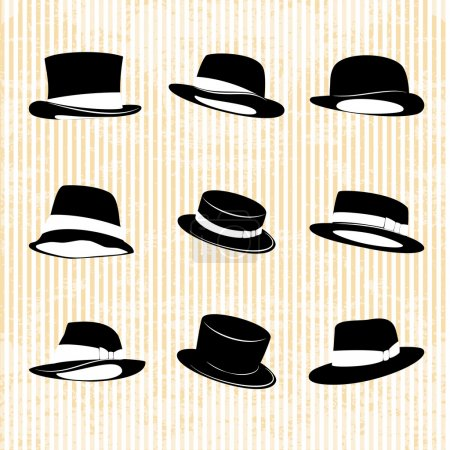 Illustration for Vector Collection of Vintage Hats - Royalty Free Image