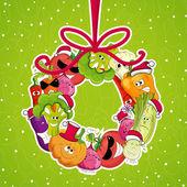 Go vegan card design Christmass illustration