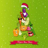 Vegan new year tree illustration