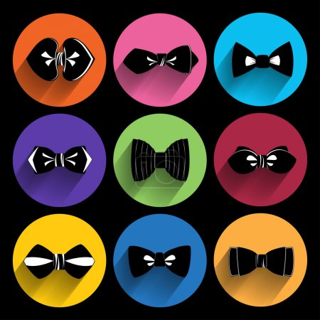 Illustration for Trendy bow tie Icons With Long Shadow. - Royalty Free Image