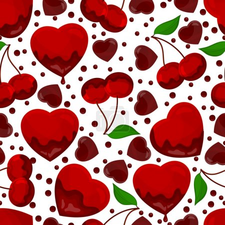 Illustration for Hearts and cherry in chocolate, seamless pattern. - Royalty Free Image