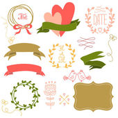 Wedding graphic set wreath flowers arrows hearts