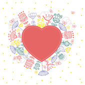 Floral heart cute retro flowers