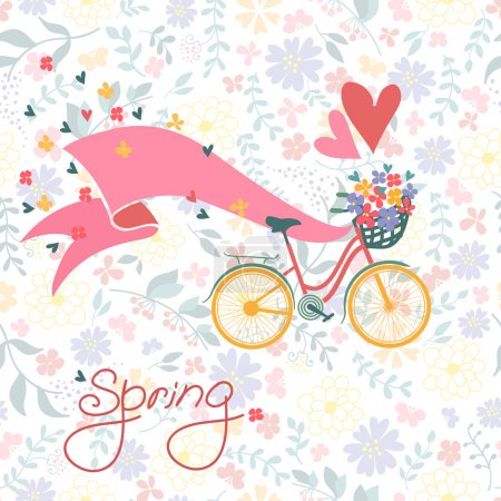 Bicycle with a basket full of flowers.