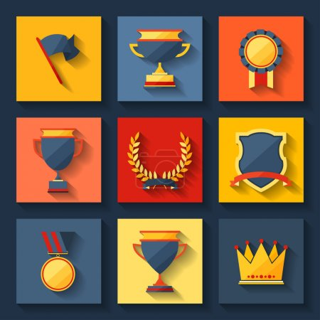 Trophy and awards icons set.