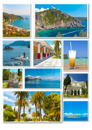 Collage of photos from Corfu in Greece