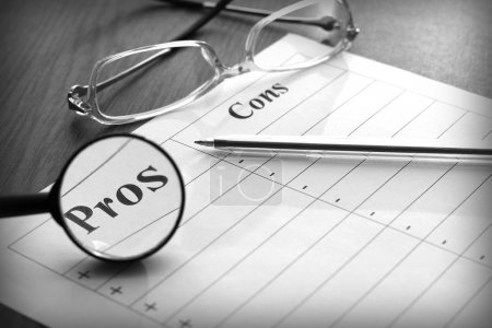 Photo for Blank form for the pros and cons, black and white image - Royalty Free Image