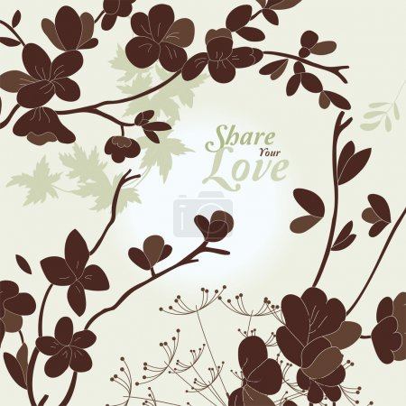 Illustration for Love Flowers Elegant Card in Japanese Style - Royalty Free Image