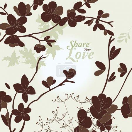 Illustration pour Fleurs d'amour Carte élégante dans le style japonais - image libre de droit