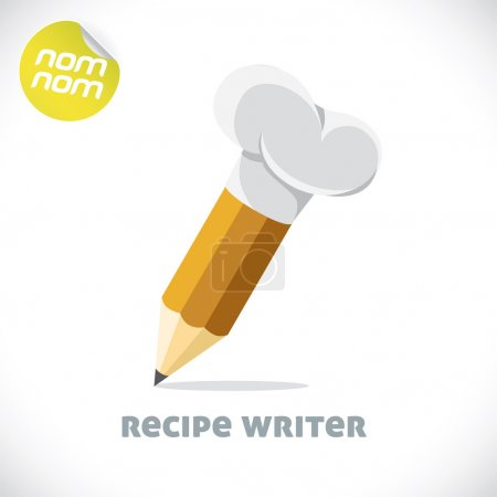 Glossy Recipe Writer Illustrations, Sign, Symbol, Button, Badge, Icon, Logo for Family, Baby, Children, Teenager