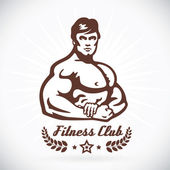 Bodybuilder Fitness Model Illustration Sign Symbol Button Badge Icon Logo for Family Baby Children Teenager  Tattoo