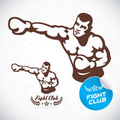 Boxer Fitness Model Illustration Sign Symbol Button Badge Icon Logo for Family Baby Children Teenager  Tattoo