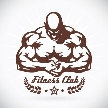 Bodybuilder Fitness Model Illustration, Sign, Symbol, Button, Badge, Icon, Logo for Family, Baby, Children, Teenager, , Tattoo
