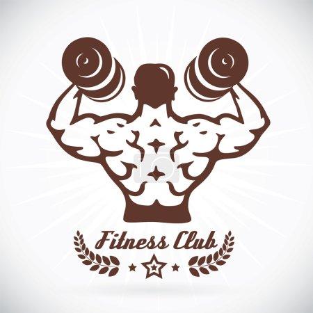 Bodybuilder Fitness Model Illustration, Sign, Symbol, Button, Badge, Icon, Logo for Family, Baby, Children, Teenager, , Tattoo