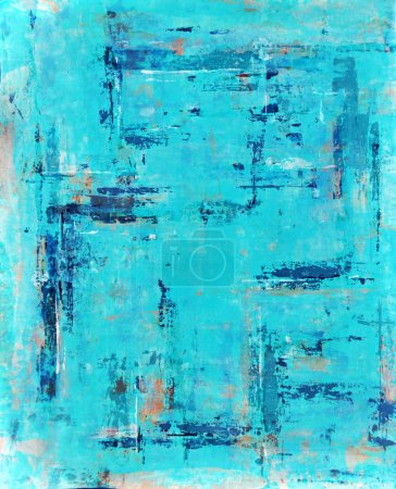 Turquoise and Orange Abstract Art Painting