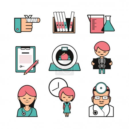 Medical diagnostics icons set