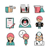 Medical diagnostics icons set