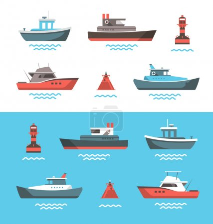 Illustration for Set of little boats and buoys with blue sea background and isolated on white. Side view illustration. - Royalty Free Image