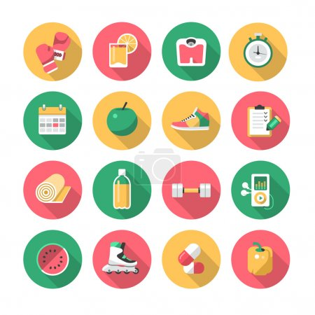 Illustration for Vector icons collection of healthy lifestyle symbols and fitness equipment - Royalty Free Image