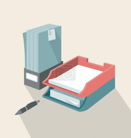 Illustration pour Plateaux verticaux et horizontaux pour les papiers placés ensemble sur un bureau. Tous les objets sont séparés et regroupés en différentes couches . - image libre de droit