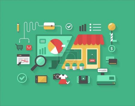 Illustration pour Le concept du choix entre le commerce électronique et le magasinage traditionnel - image libre de droit