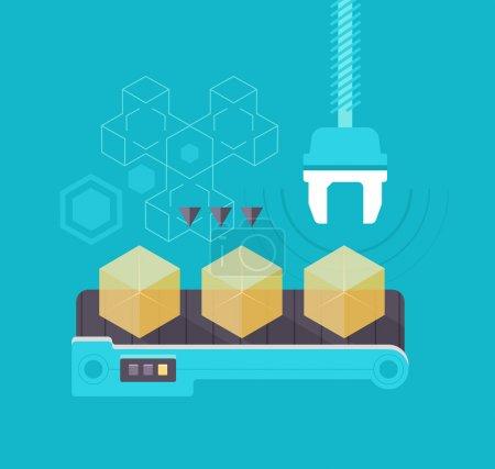 Illustration pour Boîtes jaunes semi-transparentes sur une chaîne de montage. Concept de production - image libre de droit