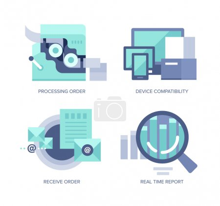 Illustration for Vector icons in flat style of online order processing and managing for web, mobile applications and print design - Royalty Free Image
